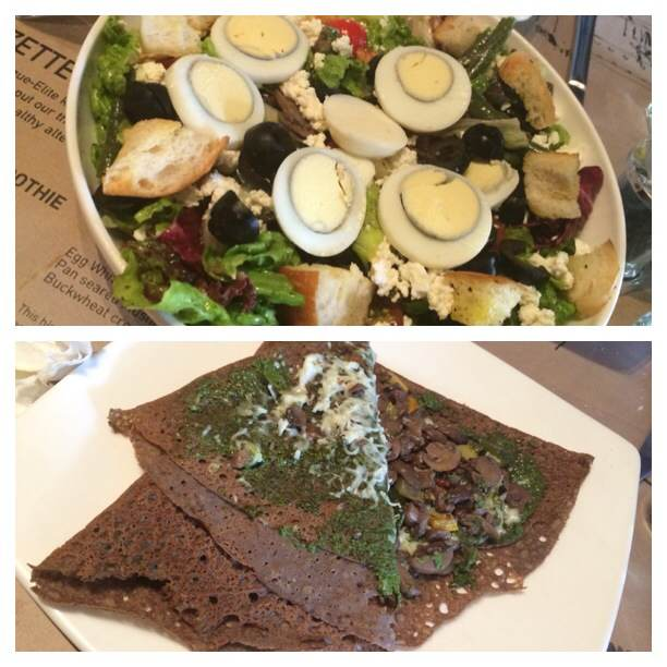 A mixed Vegetables Salad and the Legume Buckwheat Crepe at Suzette