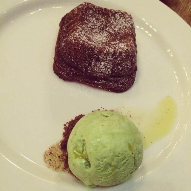 Chocolate Fondant with Basil Centre and Basil & Pine Nut Ice Cream