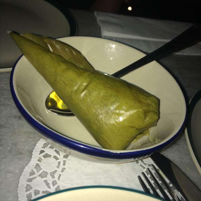 Coconut Rice wrapped in a banana leaf